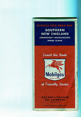 1951 Mobil Southern New England Vintage Road Map