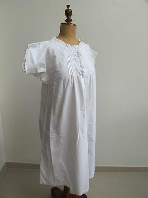 ANTIQUE ROMANTIC VICTORIAN EMBROIDERED WHITEWORK COTTON NIGHTGOWN c1890