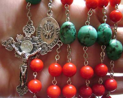 Red Coral & Turquoise Rosary Sterling 925 Silver Cross medal catholic necklace