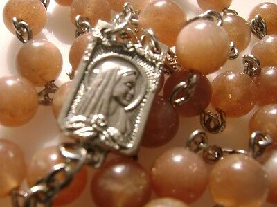 *Rare Lovely Orange Moontone Beads Bead Rosary Cross Crucifix Catholic Necklace