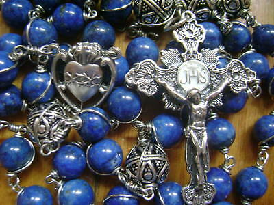 HANDMADE GIFT ROSARY RLAPIS LAZULI STERLING SILVE BEADS NECKLACE CROSS catholic