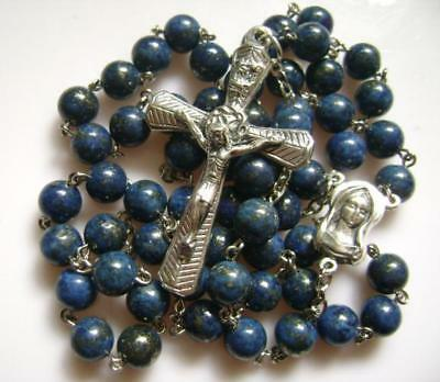 Valuable 925 Silver 5cm Cross Lapis lazuli Rose Rosary medal catholic necklace