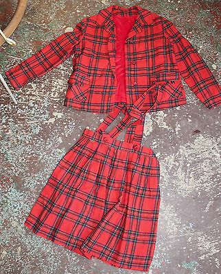 Vintage Girls Childs UK Tartan Wool Suit Jacket Skirt Suspenders Original Label