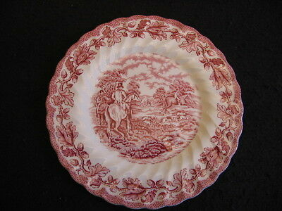 "VINTAGE MYOTT 'COUNTRY LIFE-HUNT PATTERN' in RED 8"" SALAD PLATE c.1940's/50's EX"