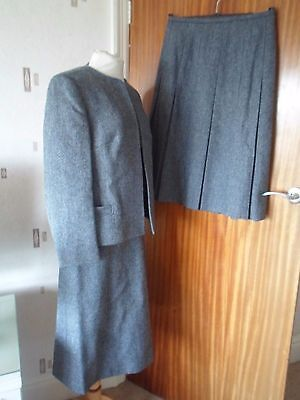 Good Vintage Pure New Wool Eastex Lined Suit -  2 Skirts +1 Jacket Size 14