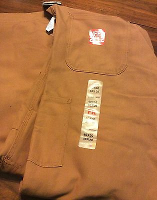 Carhartt Flame Resistant Duck Bib Overalls Unlined Men's 40x30 Brown NEW