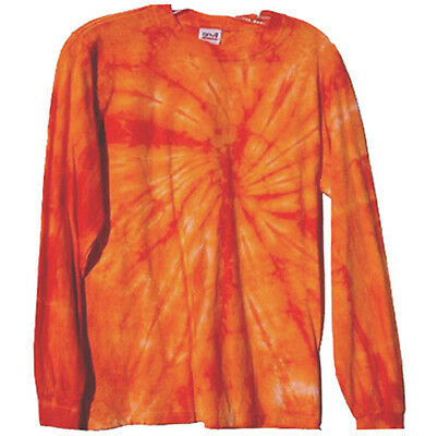Hand-dyed Tie Dye T-Shirt SIZE SMALL LONG SLEEVE ORANGE PINWHEEL SPECIAL