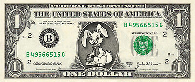 EASTER BUNNY on a REAL Dollar Bill Cute Egg Stuffer & Basket Treat Money Cash