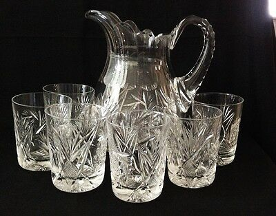 "Brilliant Cut Glass Water/milk Pitcher 6 Glasses - Pitcher 8 3/4"" X 6"" Glasses 3"