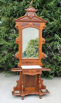 Victorian Walnut & Burl Walnut Top Marble Top Hall Tree w Iron Drip Pans c1875