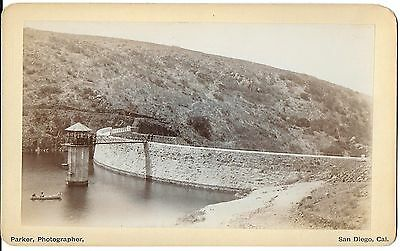 Parker Photo of Sweetwater Reservoir, Dam, & Intake Tower – San Diego CA c1880s
