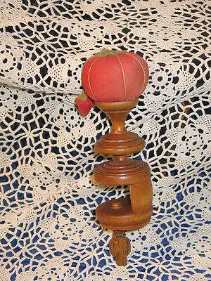 Antique Americana 1800s Sewing Hemming Pin Cushion Clamp Solid Maple Wood