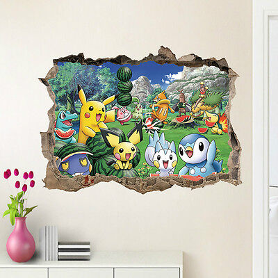 Pokemon Go Pikachu Mural Wall Decals Sticker Kids Room Decor Removable Vinyl HOT