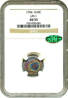 1794 H10c NGC/CAC AU53 (LM-1) Beautiful Toning - Early Half Dime