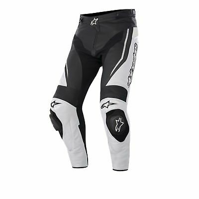 Alpinestars Track Black White Leather Motorcycle Pants, NEW!