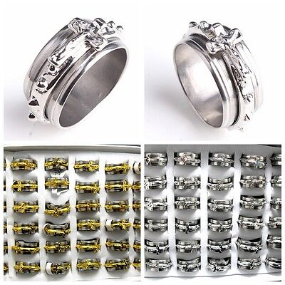 wholesale 50 cross spinning gold silver Stainless steel Rings Jewelry lots
