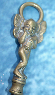 RARE Antique Brass Toasting Fork detailed Fairy Angel Finial and Twisted Handle