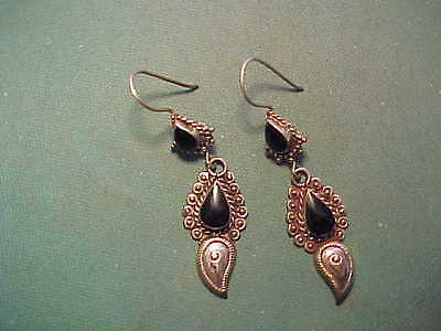 Near Eastern hand crafted silver earrings onyx stones