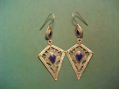 Near Eastern hand crafted silver earrings lapis lazuli stones
