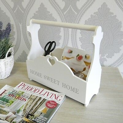 White Magazine Rack Shabby Home Accessory Vintage Living Room Storage Chic