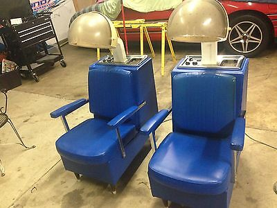 2 vintage hooded hair dryer chairs beauty shop salon equipment blue