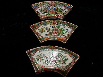 """3 Antique Chinese export rose medallion sauce dishes Qing 6"""""""