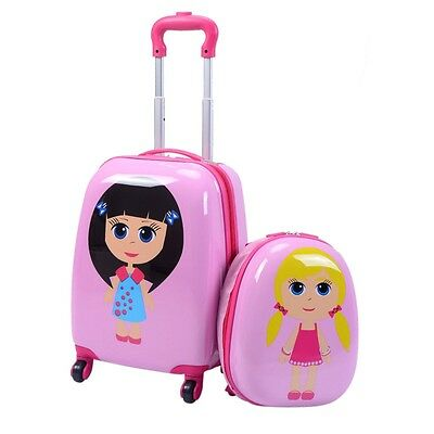"""2Pcs 12"""" 16"""" Kids Girls Luggage Set Suitcase Backpack School Travel Trolley ABS"""
