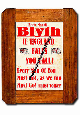 Northumberland - Blyth - Ww1 Style - Repro Town Recruitment Poster