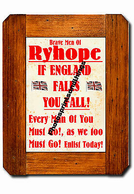 Tyne & Wear - Ryhope - Ww1 Style - Repro Town Recruitment Poster