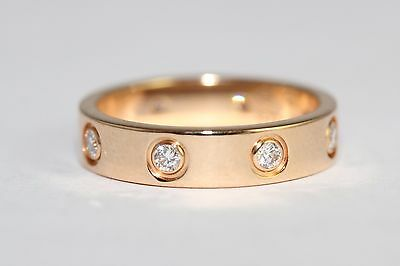 Immaculate Condition Cartier 18ct yellow Gold Diamond Wedding Band Ring size4 US
