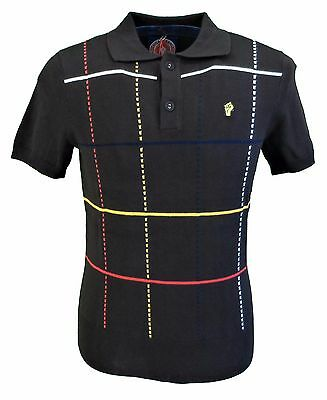 Wigan Casino Brown Knitted Check Front Fine Gauge Polo Shirt