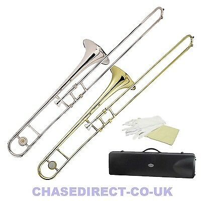 Chase Bb B Flat Tenor Trombone Outfit with Free Hard Case Brass Or Nickel Finish