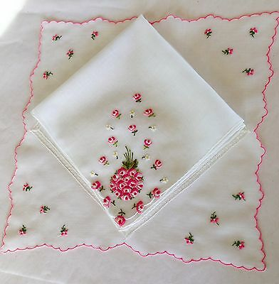 Lot of 2 Swiss Hankies with Pink Embroidery & Lace