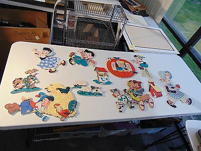 Vintage Lot NURSERY RHYMES Characters Babies Room Décor Thick Cardboard CUTOUTS