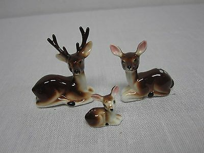 3 Vintage Napco Bone China Miniature Deer Family Figures