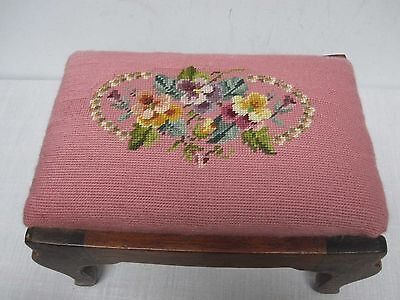 VINTAGE PINK ROSE HAND STITCHED NEEDLEPOINT FOOTSTOOL with PANSY FLOWERS
