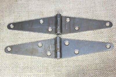 "two 8 1 5/8"" old barn gate shed door rustic strap hinges tool box vintage"