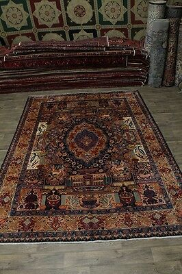 Very Unique Historical Pictorial Kashmar Persian Oriental Area Rug 9X13