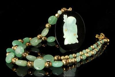 Vintage Chinese Carved Buddha Green Jade 14K Gold Nephrite Onyx Pendant Necklace