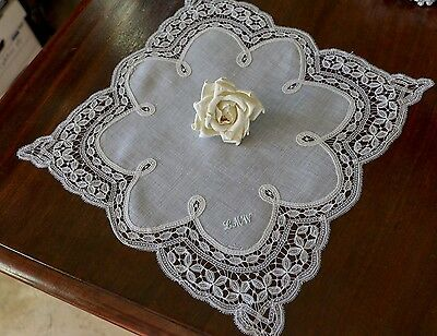 c1900 Fine Antique Brussels / Honiton Tape Lace Wedding Hanky Monogram LMW Hanky