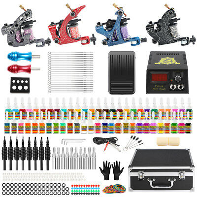 Tätowierung Tattoo Kit Komplett Tattoo Set 54 Inks 4 Tattoo maschines 50 Nadelns
