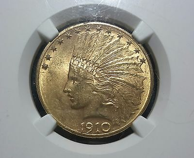 1910-D $10 Gold Indian Head Eagle NGC MS61