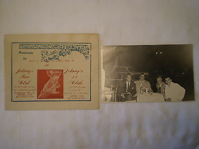 Vintage Souvenir Group Photo & Cardboard Holder Johnny's 88 Bar Club Havana Cuba