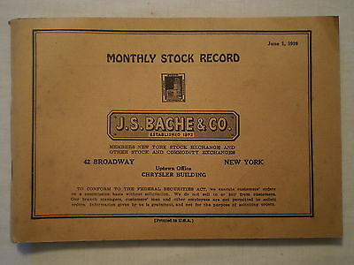 Vintage June 1939 Monthly Stock Record Nyse Member Bache & Co Fitch Publishing