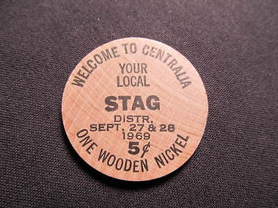 1969 Centralia, Illinois Wooden Nickel token - IL Numismatic Conv Wood Stag Beer