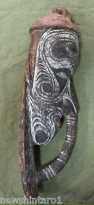 #qq. Carved Tattooed Wooden Head, Unknown Origin Or Age