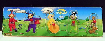 RARE Wooden Knob Teletubbies Puzzle Set Puzzle - Yellow Green Purple Red, Wood