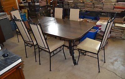 Wrought Iron Heavy Metal Gothic Antique Dining Room Table and 6 Chairs
