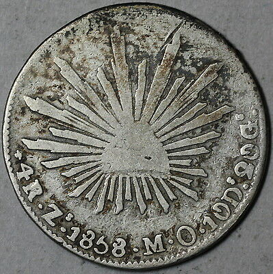 1858-Zs MEXICO Silver 4 REALES Zacatecas MINT Coin (16061634R)