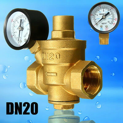 3/4'' DN20 Adjustable Brass Bspp Water Pressure Reducing Valve + Gauge Flow AU